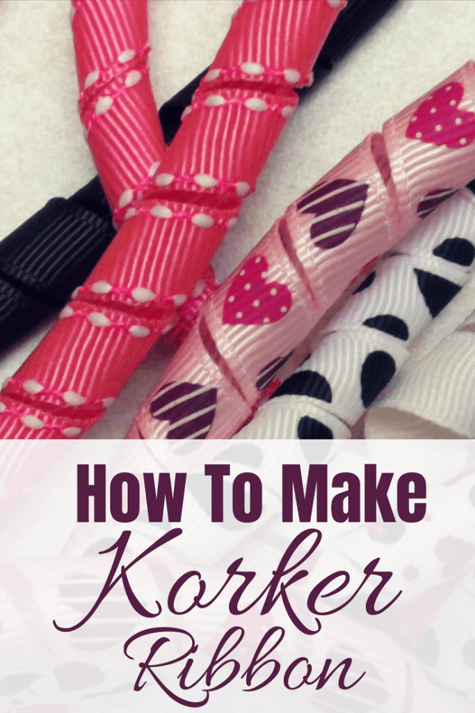 Pink, white, and black korker ribbon stacked by The Moody Blonde. Text Says How to Make Korker Ribbon