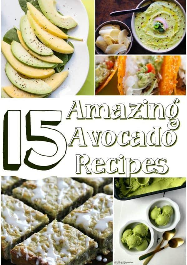 Collage of 15 amazing avocado recipes