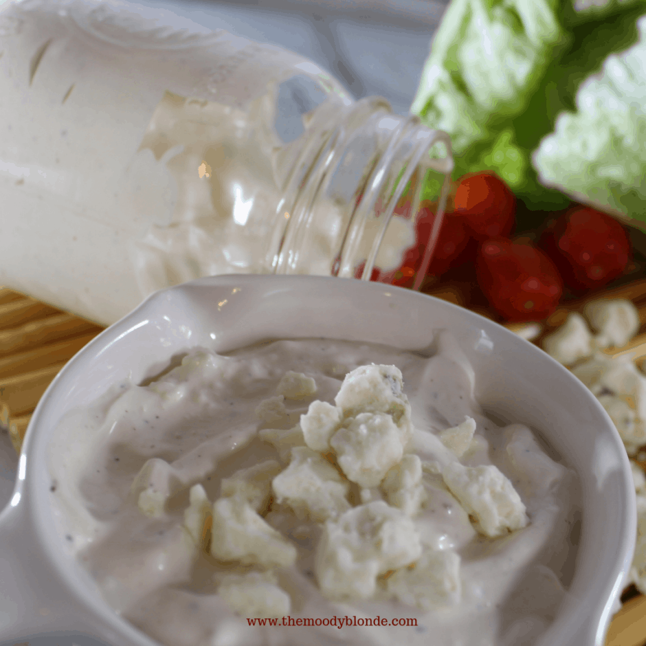 creamy dreamy blue cheese dressing and dip in a crock