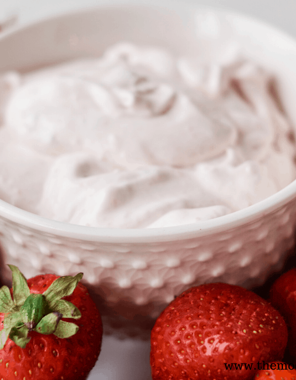 4 ingredient strawberry fruit dip in a bowl 2