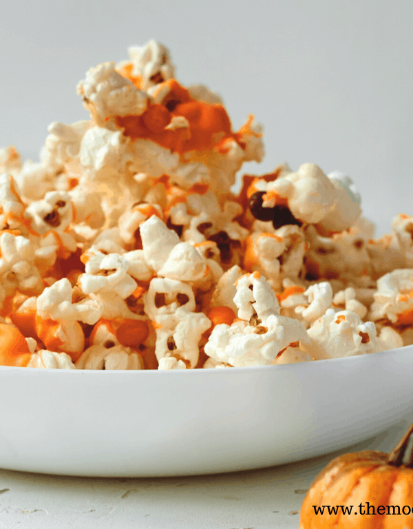 candied halloween popcorn in a bowl