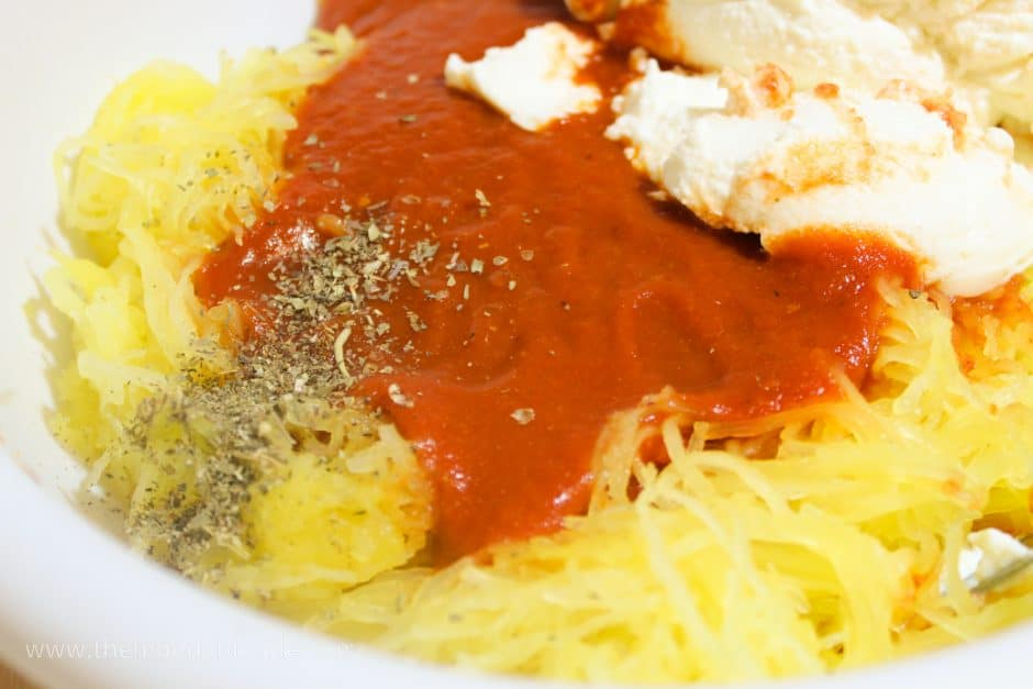 spaghetti squash mixed with marinara, ricotta, and italian seasonings