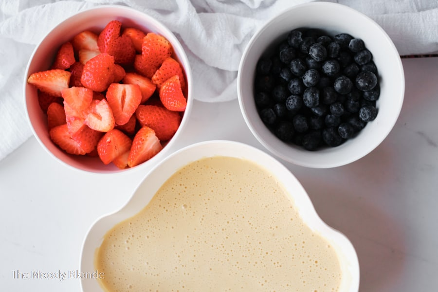 ingredients for red white and blueberry pie