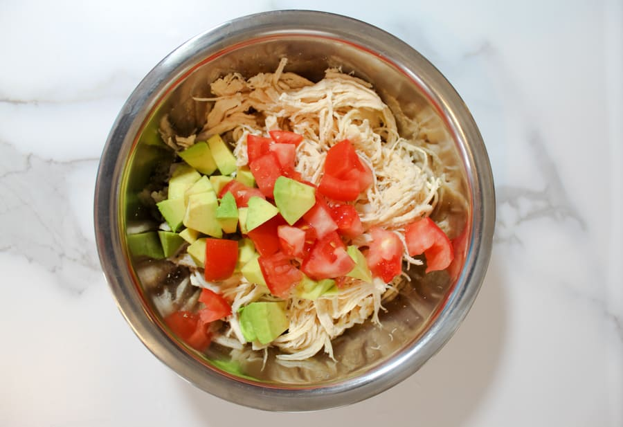 Instant Pot Chicken Salad ingredients in a bowl