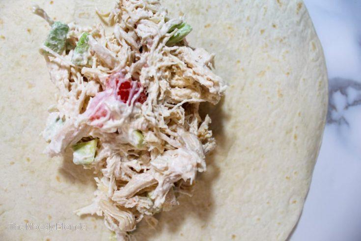 instant pot chicken salad on a tortilla