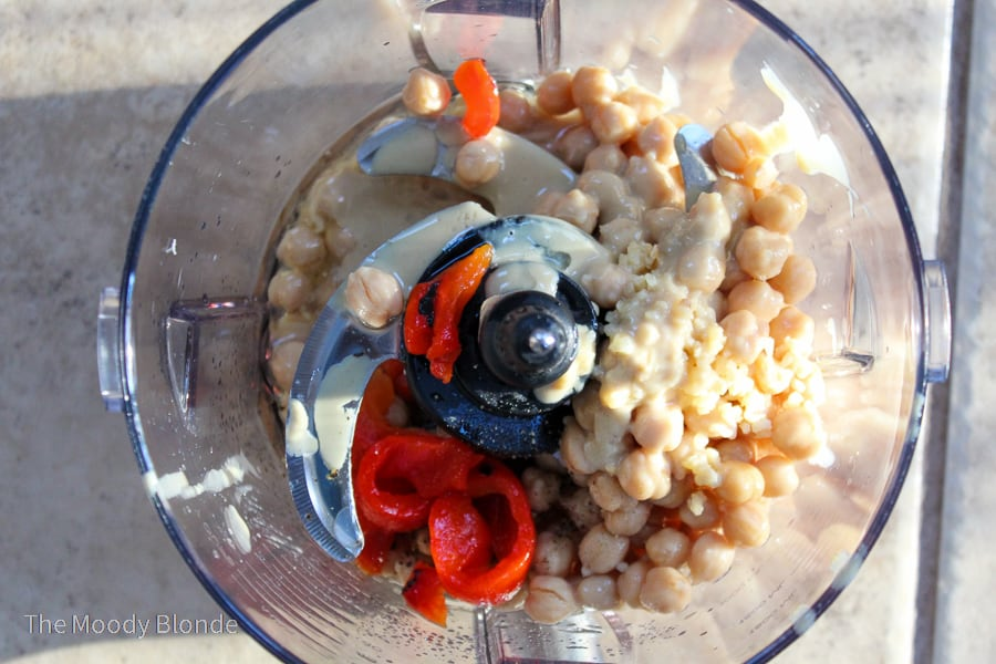 roasted red pepper ingredients in a food processor
