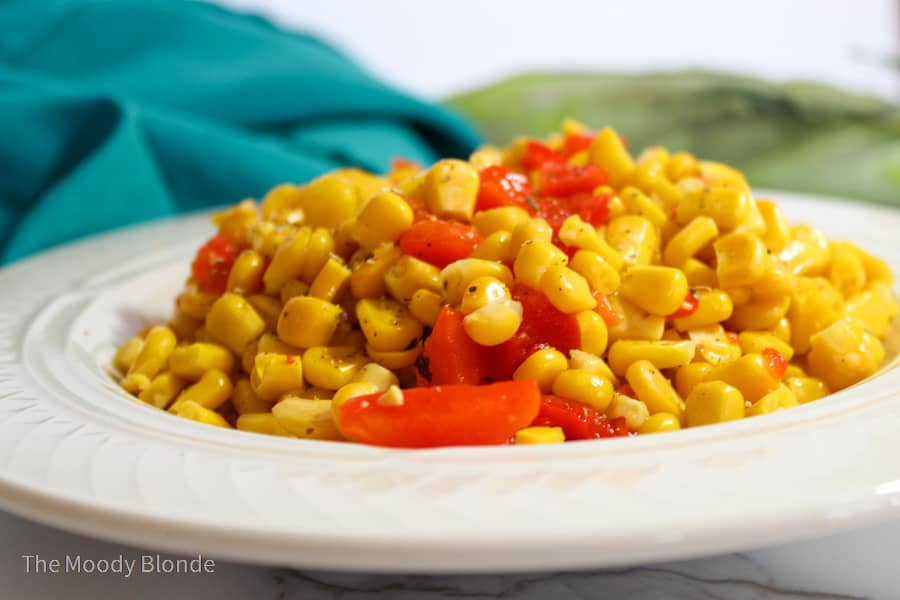 Easy Corn Salad with roasted red peppers