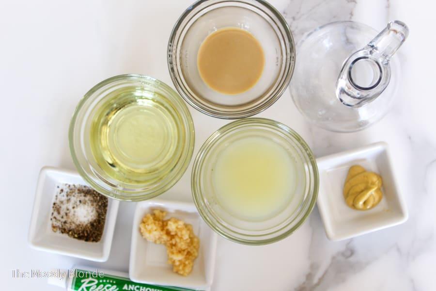 ingredients for caesar salad dressing